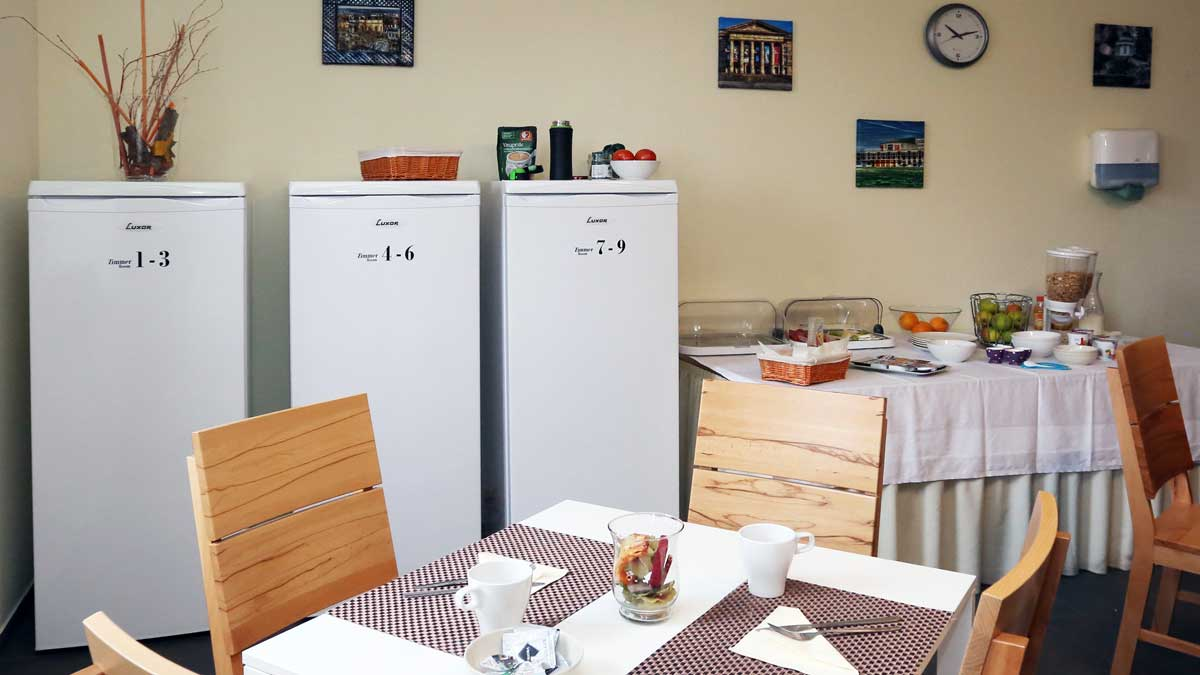Dining room with refrigerators